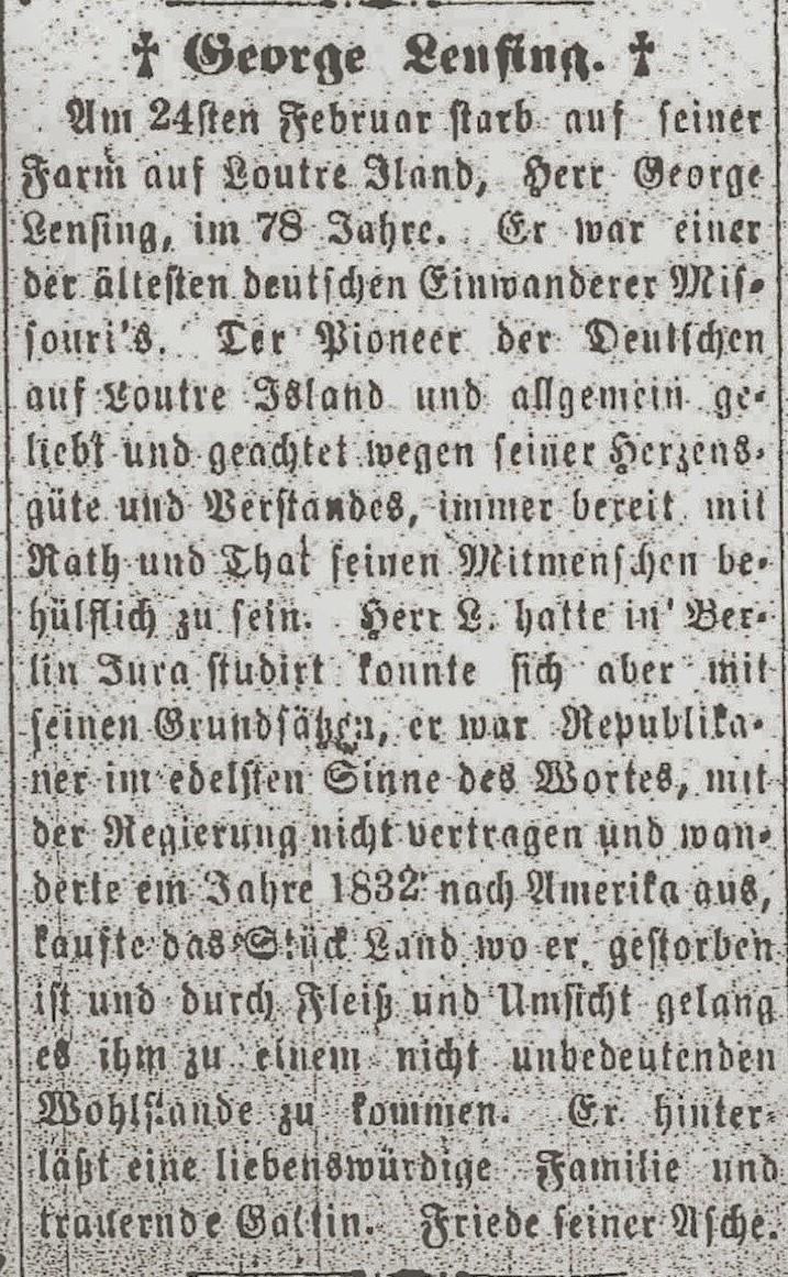Obit of Gerhard Lensing found in  Hermann Volksblatt